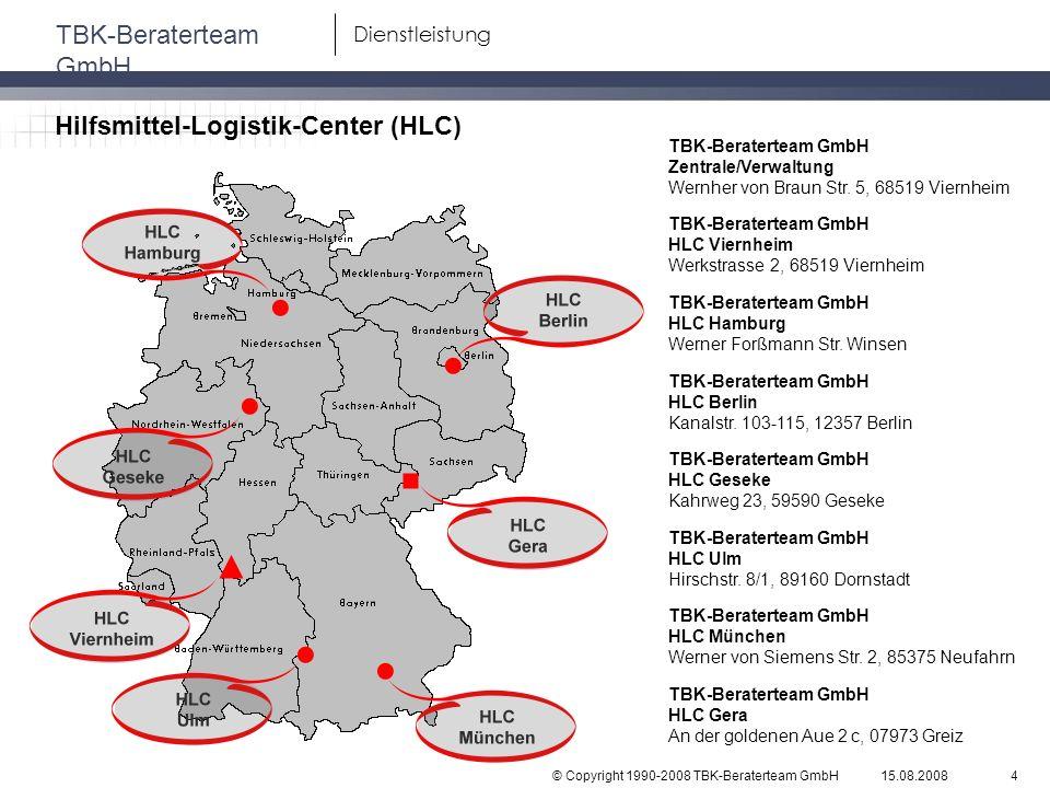 © Copyright 1990-2008 TBK-Beraterteam GmbH TBK-Beraterteam GmbH 15.08.20084 Dienstleistung Hilfsmittel-Logistik-Center (HLC) TBK-Beraterteam GmbH Zent