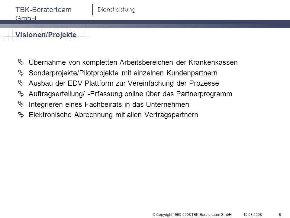 © Copyright 1990-2008 TBK-Beraterteam GmbH TBK-Beraterteam GmbH 15.08.20089 Dienstleistung Übernahme von kompletten Arbeitsbereichen der Krankenkassen