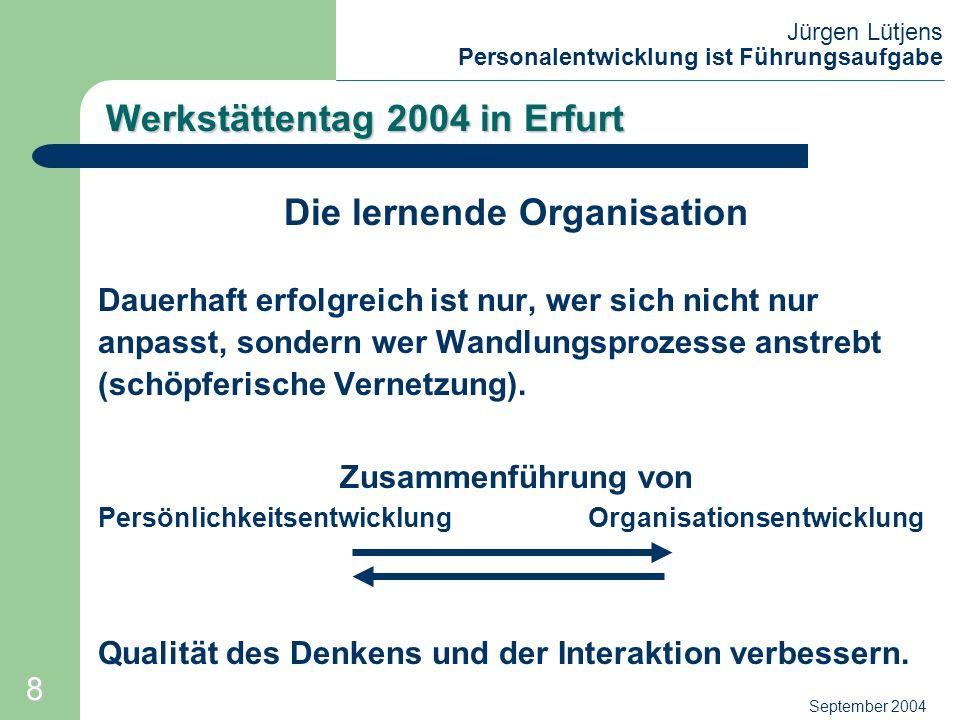 Jürgen Lütjens Personalentwicklung ist Führungsaufgabe September 2004 Werkstättentag 2004 in Erfurt Die lernende Organisation Dauerhaft erfolgreich is