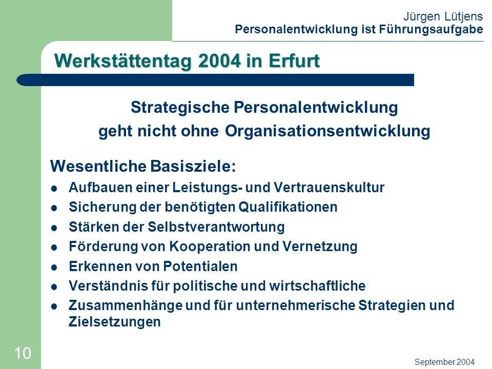Jürgen Lütjens Personalentwicklung ist Führungsaufgabe September 2004 Werkstättentag 2004 in Erfurt Strategische Personalentwicklung geht nicht ohne O