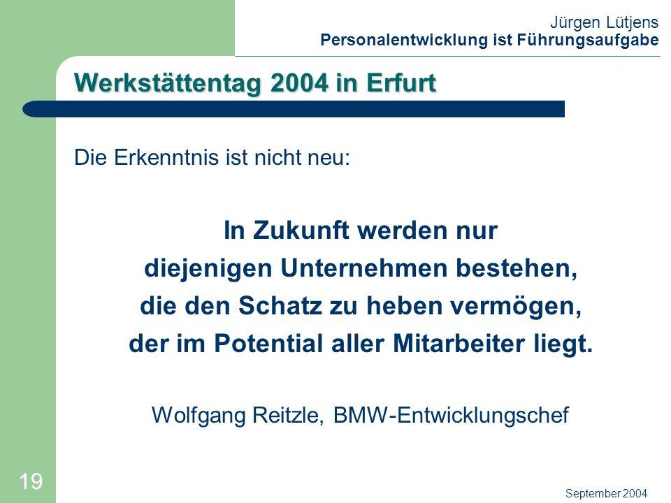 Jürgen Lütjens Personalentwicklung ist Führungsaufgabe September 2004 Werkstättentag 2004 in Erfurt Die Erkenntnis ist nicht neu: In Zukunft werden nu