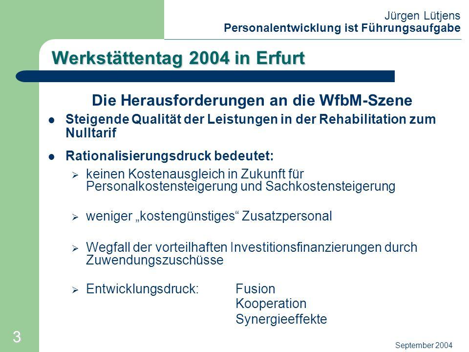 Jürgen Lütjens Personalentwicklung ist Führungsaufgabe September 2004 Werkstättentag 2004 in Erfurt Die Herausforderungen an die WfbM-Szene Steigende