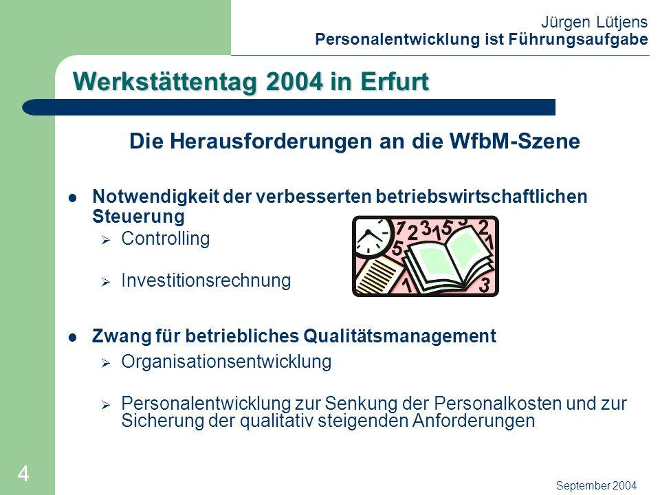 Jürgen Lütjens Personalentwicklung ist Führungsaufgabe September 2004 Werkstättentag 2004 in Erfurt T H E S E QM - mit Organisationsentwicklung (OE) und Personalentwicklung (PE) dient zur erfolgreichen Anpassung der WfbM an die Herausforderungen der heutigen Zeit.