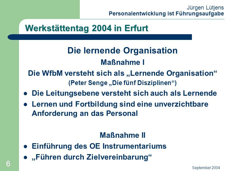 Jürgen Lütjens Personalentwicklung ist Führungsaufgabe September 2004 Werkstättentag 2004 in Erfurt Die lernende Organisation Eine lernende Organisation ist eine Gruppe von Menschen, die beständig an der Verbesserung der Fähigkeiten arbeitet, die ihr wichtig sind.