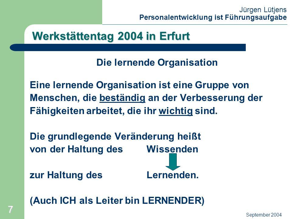 Jürgen Lütjens Personalentwicklung ist Führungsaufgabe September 2004 Werkstättentag 2004 in Erfurt Die lernende Organisation Dauerhaft erfolgreich ist nur, wer sich nicht nur anpasst, sondern wer Wandlungsprozesse anstrebt (schöpferische Vernetzung).