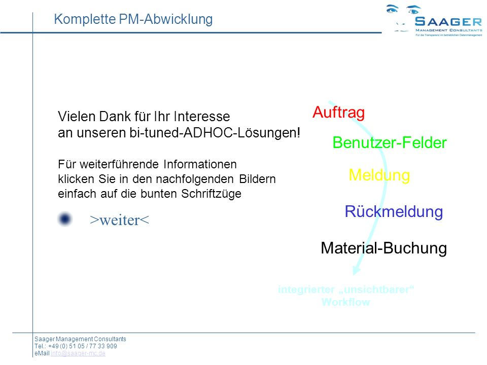 Auftrag Benutzer-Felder Meldung Rückmeldung Material-Buchung integrierter unsichtbarer Workflow Komplette PM-Abwicklung Saager Management Consultants Tel.: +49 (0) 51 05 / 77 33 909 eMail info@saager-mc.deinfo@saager-mc.de Auftrag Benutzer-Felder Meldung Rückmeldung Material-Buchung integrierter unsichtbarer Workflow Vielen Dank für Ihr Interesse an unseren bi-tuned-ADHOC-Lösungen.