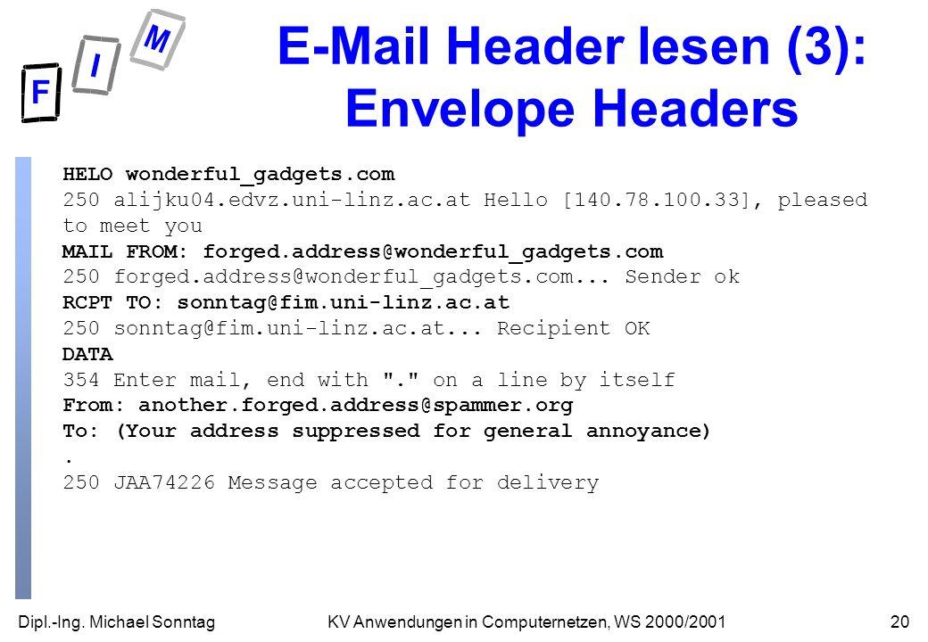 Dipl.-Ing. Michael Sonntag20KV Anwendungen in Computernetzen, WS 2000/2001 E-Mail Header lesen (3): Envelope Headers HELO wonderful_gadgets.com 250 al