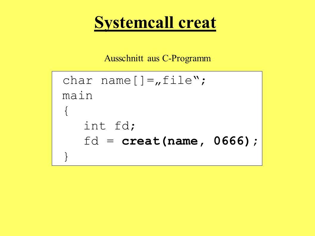 char name[]=file; main { int fd; fd = creat(name, 0666); } Systemcall creat Ausschnitt aus C-Programm