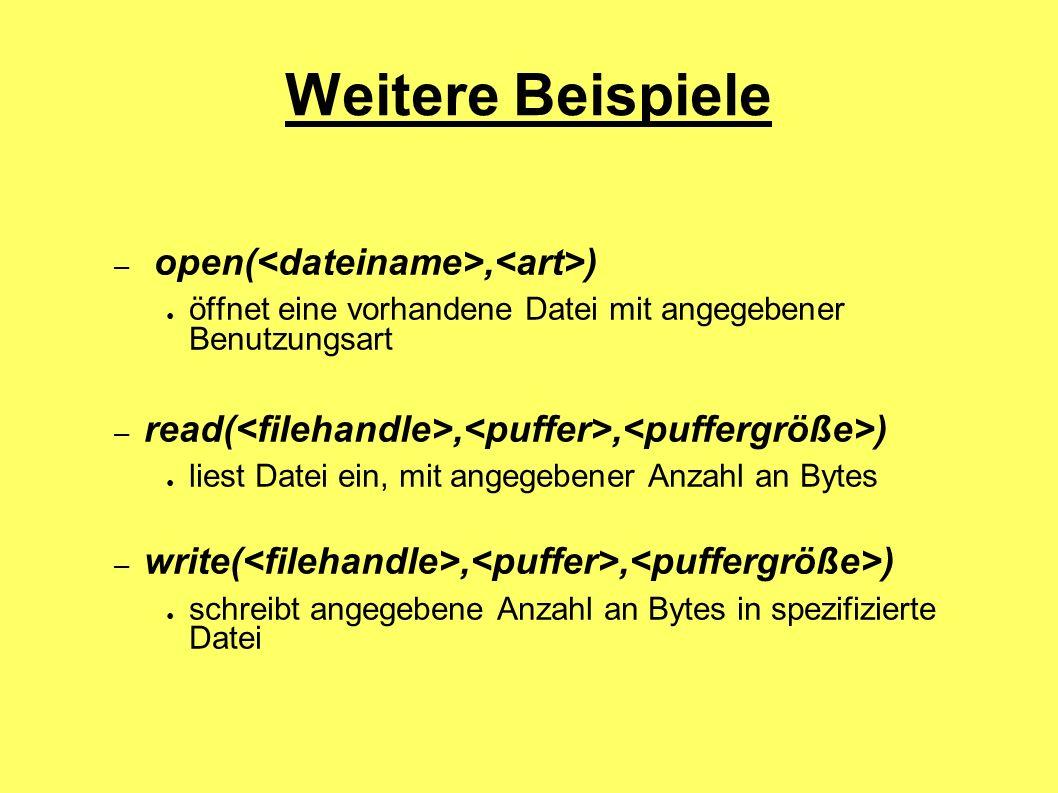 Weitere Beispiele – open(, ) öffnet eine vorhandene Datei mit angegebener Benutzungsart – read(,, ) liest Datei ein, mit angegebener Anzahl an Bytes –