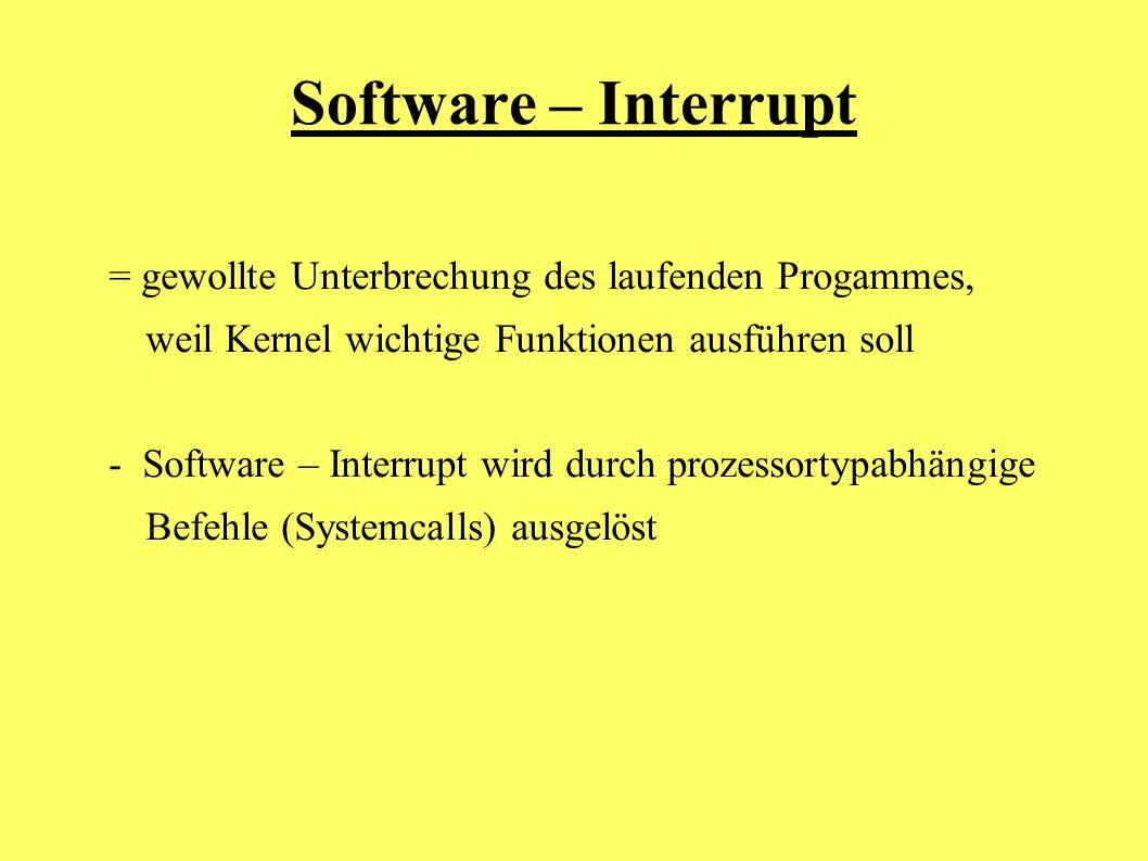 Software – Interrupt = gewollte Unterbrechung des laufenden Progammes, weil Kernel wichtige Funktionen ausführen soll - Software – Interrupt wird durc