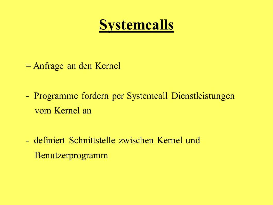 = Anfrage an den Kernel - Programme fordern per Systemcall Dienstleistungen vom Kernel an - definiert Schnittstelle zwischen Kernel und Benutzerprogra