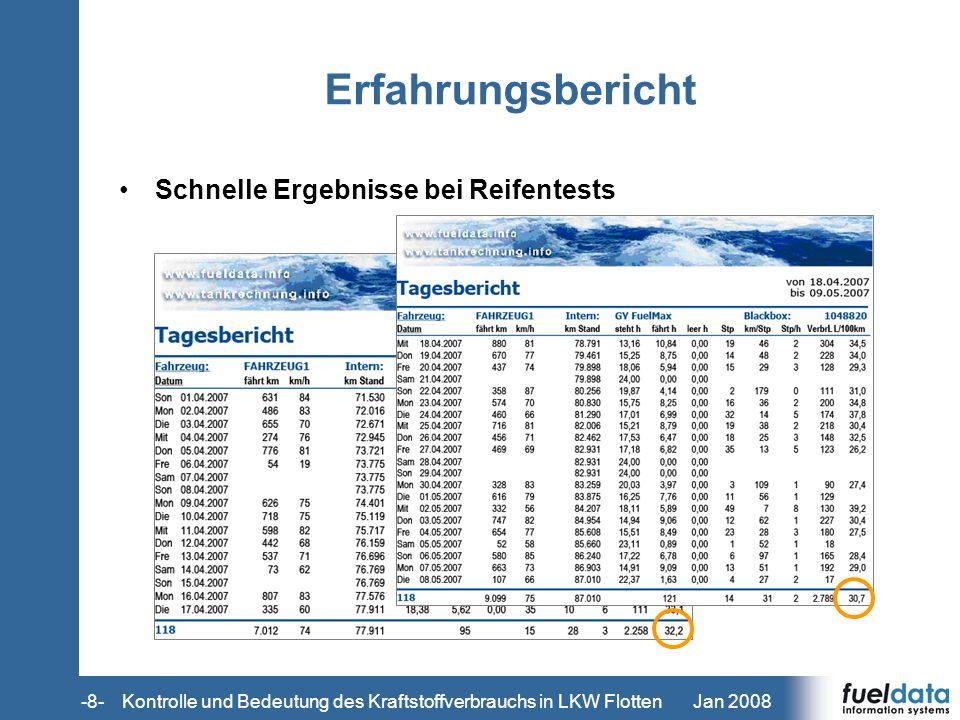 Jan 2008-8- Erfahrungsbericht Schnelle Ergebnisse bei Reifentests Kontrolle und Bedeutung des Kraftstoffverbrauchs in LKW Flotten