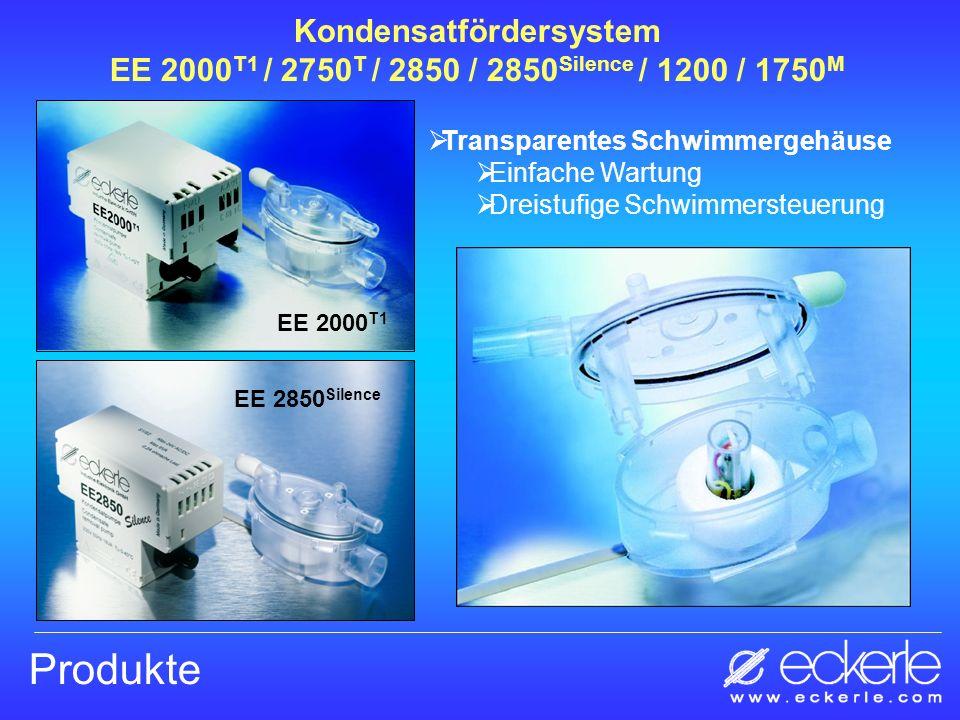 Produkte Kondensatfördersystem EE 2000 T1 / 2750 T / 2850 / 2850 Silence / 1200 / 1750 M Transparentes Schwimmergehäuse Einfache Wartung Dreistufige S