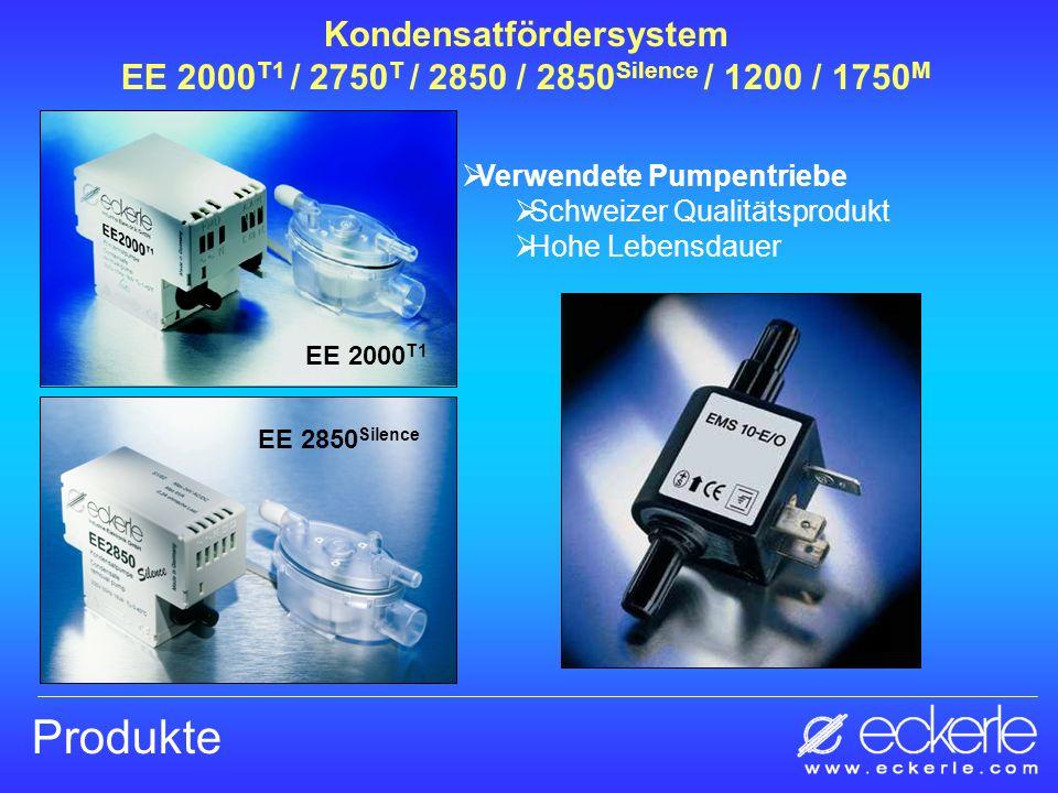 Produkte Verwendete Pumpentriebe Schweizer Qualitätsprodukt Hohe Lebensdauer EE 2000 T1 Kondensatfördersystem EE 2000 T1 / 2750 T / 2850 / 2850 Silenc