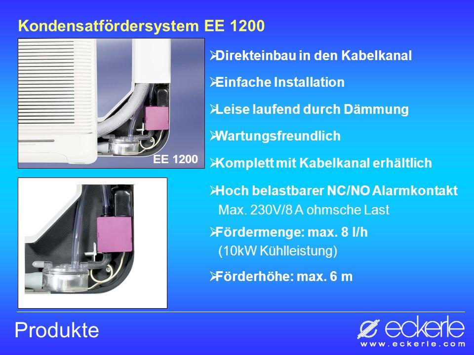 Produkte Kondensatfördersystem EE 900 EE 900 Eine der leisesten Pumpen am Markt Unempfindlich gegen Schmutzpartikel Trockenlauf sicher Zwei Ansteuerungen erhältlich: - Thermosteuerung über 2 Sensoren - Steuerung über das Kühlsignal (Basic Version) Fördermenge: max.