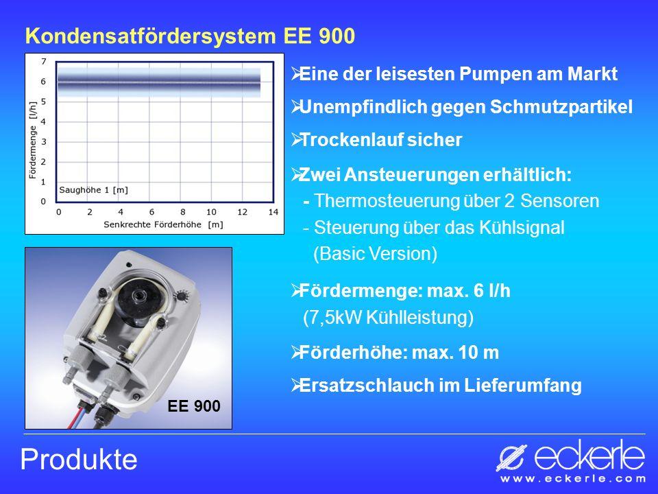 Produkte Kondensatfördersystem EE 900 EE 900 Eine der leisesten Pumpen am Markt Unempfindlich gegen Schmutzpartikel Trockenlauf sicher Zwei Ansteuerun