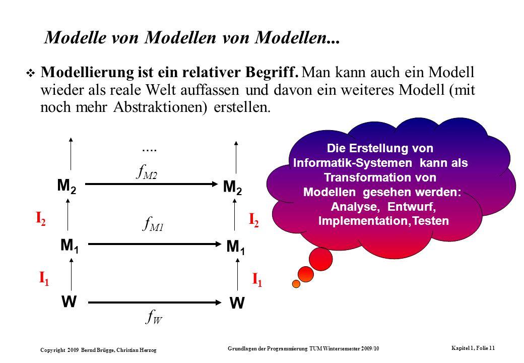 Copyright 2009 Bernd Brügge, Christian Herzog Grundlagen der Programmierung TUM Wintersemester 2009/10 Kapitel 1, Folie 11 Modelle von Modellen von Modellen...