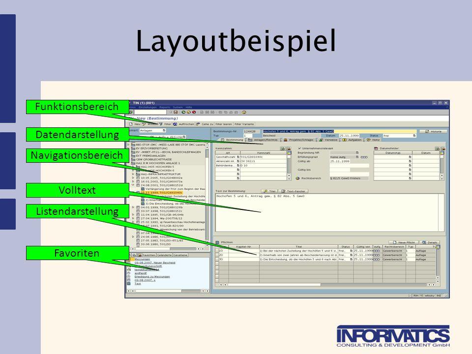 Layoutbeispiel Funktionsbereich Navigationsbereich Favoriten Datendarstellung Listendarstellung Volltext