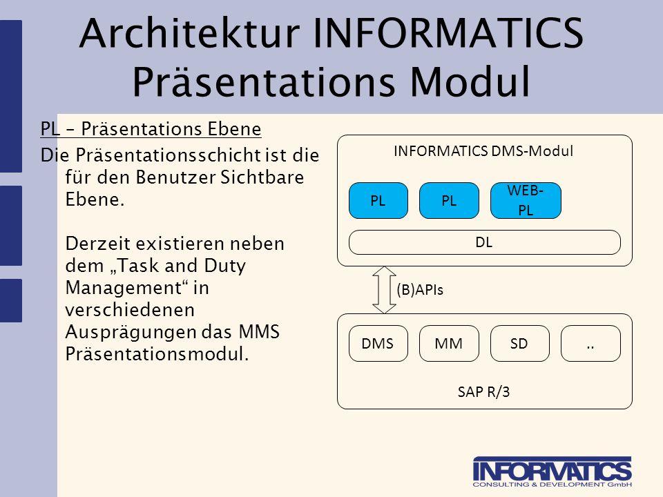 Architektur INFORMATICS Präsentations Modul PL – Präsentations Ebene Die Präsentationsschicht ist die für den Benutzer Sichtbare Ebene. Derzeit existi