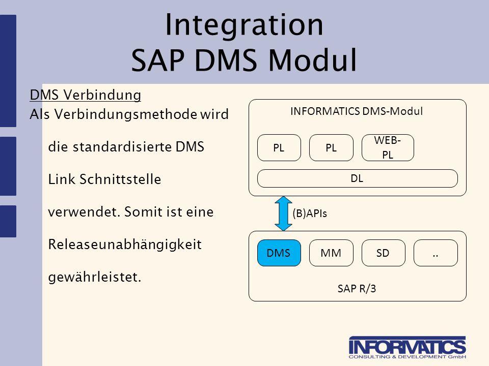 Integration SAP DMS Modul DMS Verbindung Als Verbindungsmethode wird die standardisierte DMS Link Schnittstelle verwendet. Somit ist eine Releaseunabh