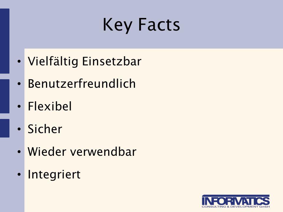 Key Facts Vielfältig Einsetzbar Benutzerfreundlich Flexibel Sicher Wieder verwendbar Integriert
