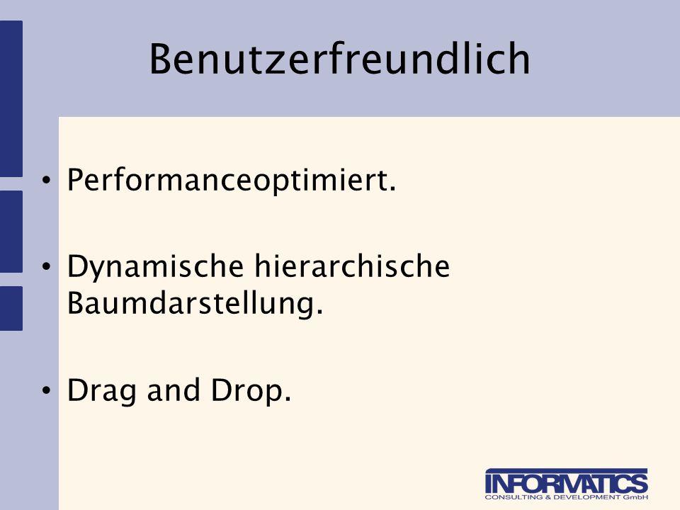 Benutzerfreundlich Performanceoptimiert. Dynamische hierarchische Baumdarstellung. Drag and Drop.
