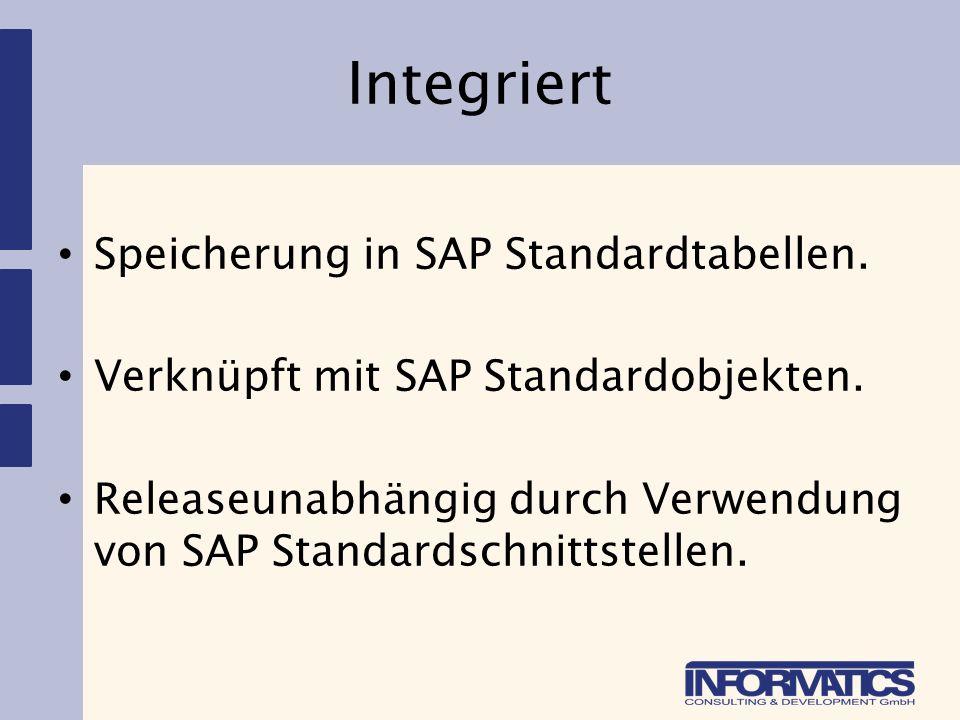 Integriert Speicherung in SAP Standardtabellen. Verknüpft mit SAP Standardobjekten. Releaseunabhängig durch Verwendung von SAP Standardschnittstellen.