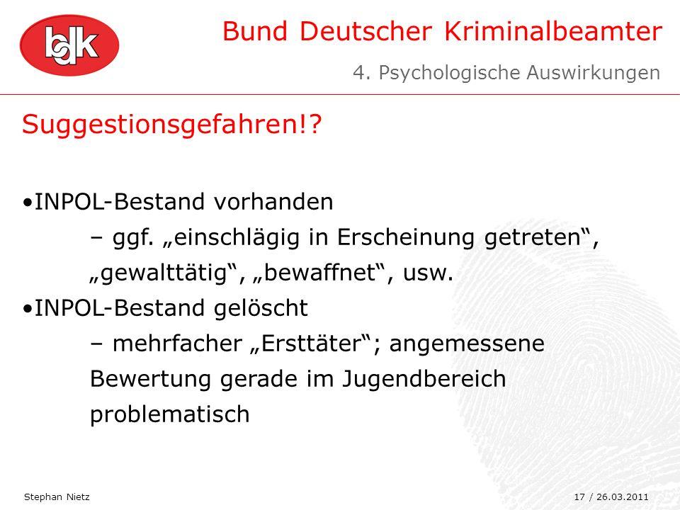 Bund Deutscher Kriminalbeamter Suggestionsgefahren!? Stephan Nietz INPOL-Bestand vorhanden – ggf. einschlägig in Erscheinung getreten, gewalttätig, be