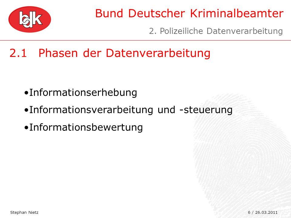Bund Deutscher Kriminalbeamter 2.1Phasen der Datenverarbeitung Stephan Nietz Informationserhebung Informationsverarbeitung und -steuerung Informations