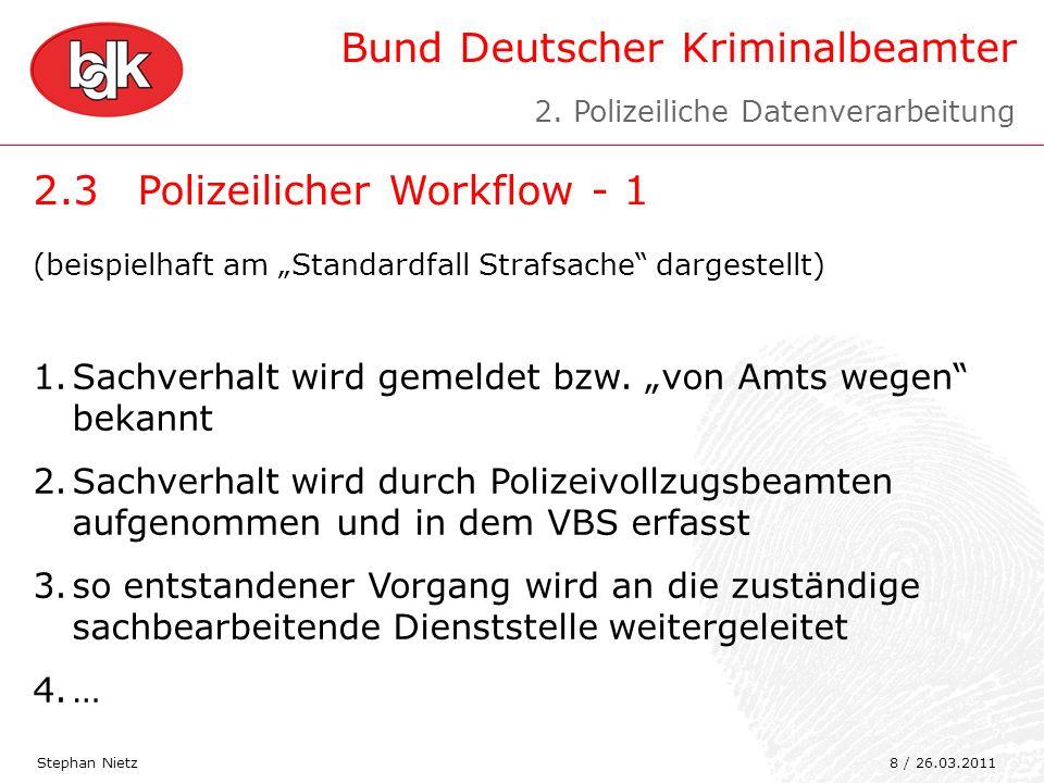 Bund Deutscher Kriminalbeamter 2.3Polizeilicher Workflow - 1 Stephan Nietz (beispielhaft am Standardfall Strafsache dargestellt) 1.Sachverhalt wird ge