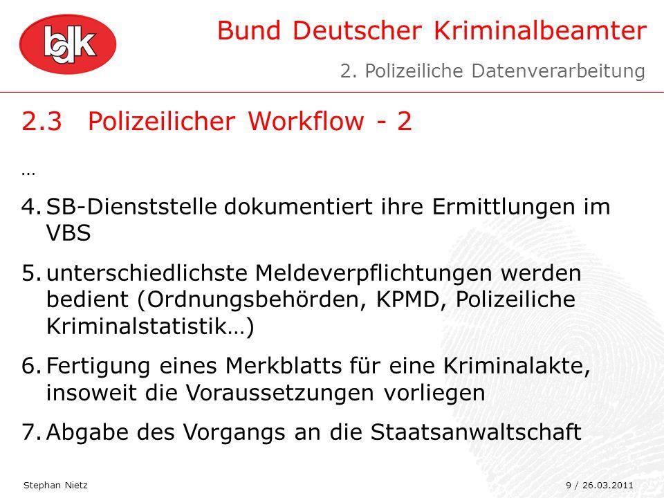 Bund Deutscher Kriminalbeamter 2.3Polizeilicher Workflow - 2 Stephan Nietz … 4.SB-Dienststelle dokumentiert ihre Ermittlungen im VBS 5.unterschiedlich