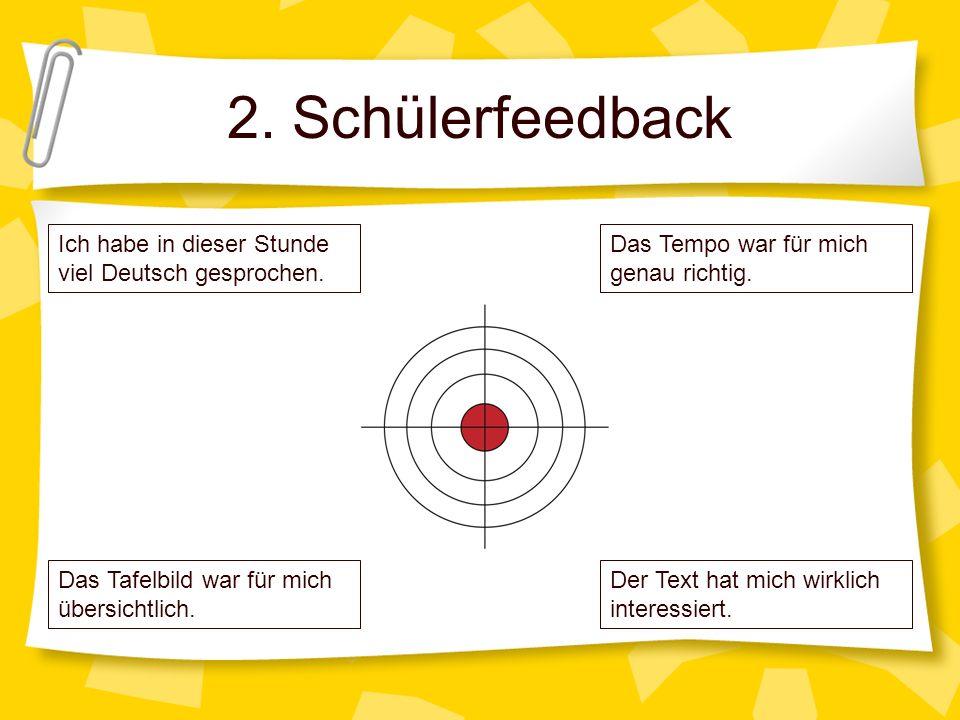 2. Schülerfeedback Das Tempo war für mich genau richtig. Der Text hat mich wirklich interessiert. Ich habe in dieser Stunde viel Deutsch gesprochen. D