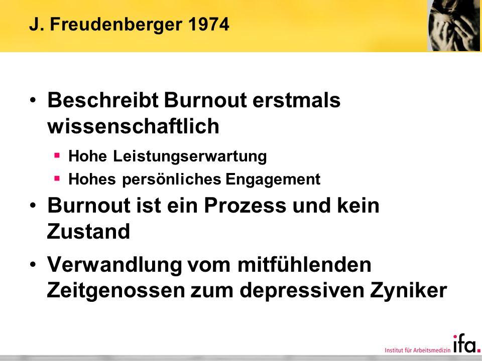 J. Freudenberger 1974 Beschreibt Burnout erstmals wissenschaftlich Hohe Leistungserwartung Hohes persönliches Engagement Burnout ist ein Prozess und k