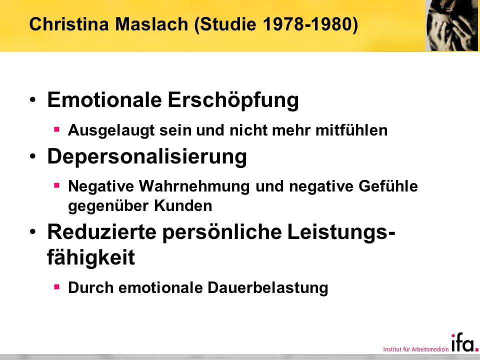 Christina Maslach (Studie 1978-1980) Emotionale Erschöpfung Ausgelaugt sein und nicht mehr mitfühlen Depersonalisierung Negative Wahrnehmung und negat