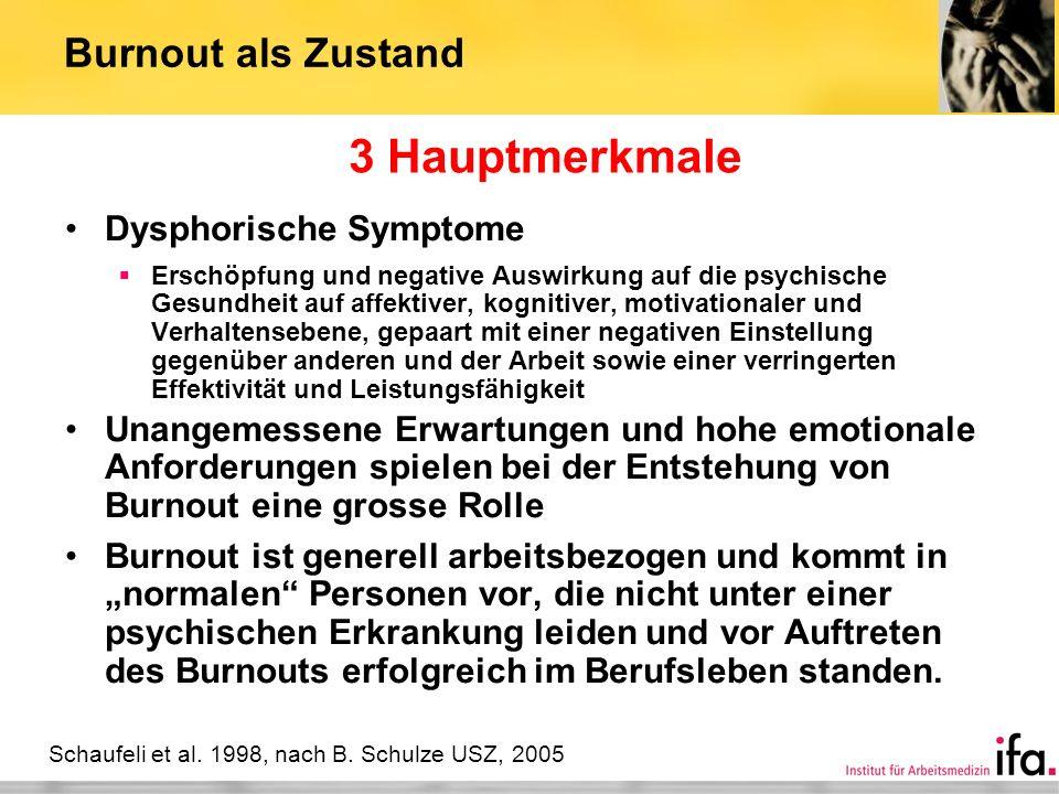 Burnout als Zustand Dysphorische Symptome Erschöpfung und negative Auswirkung auf die psychische Gesundheit auf affektiver, kognitiver, motivationaler
