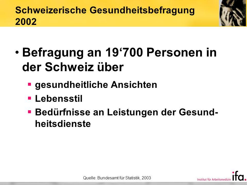 Schweizerische Gesundheitsbefragung 2002 Befragung an 19700 Personen in der Schweiz über gesundheitliche Ansichten Lebensstil Bedürfnisse an Leistunge