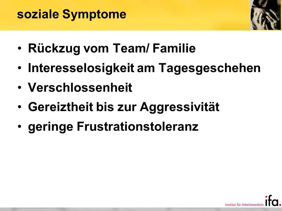 soziale Symptome Rückzug vom Team/ Familie Interesselosigkeit am Tagesgeschehen Verschlossenheit Gereiztheit bis zur Aggressivität geringe Frustration