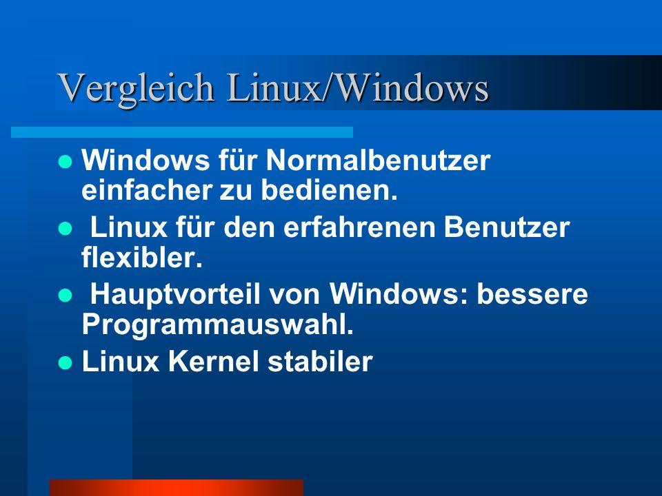 Vergleich Linux/Windows Windows für Normalbenutzer einfacher zu bedienen. Linux für den erfahrenen Benutzer flexibler. Hauptvorteil von Windows: besse