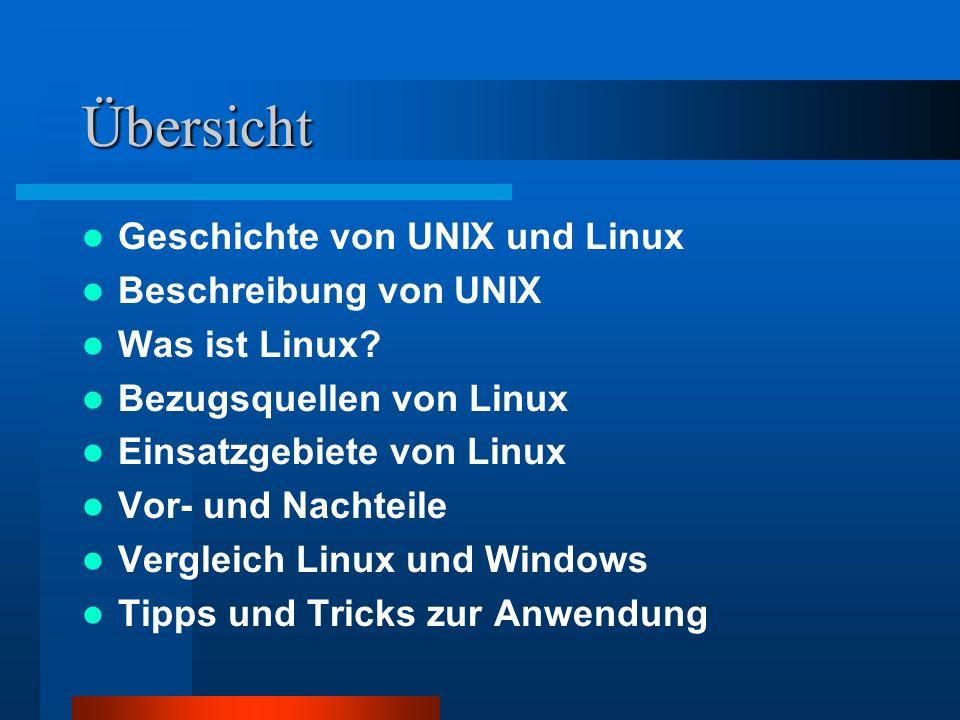 Übersicht Geschichte von UNIX und Linux Beschreibung von UNIX Was ist Linux? Bezugsquellen von Linux Einsatzgebiete von Linux Vor- und Nachteile Vergl