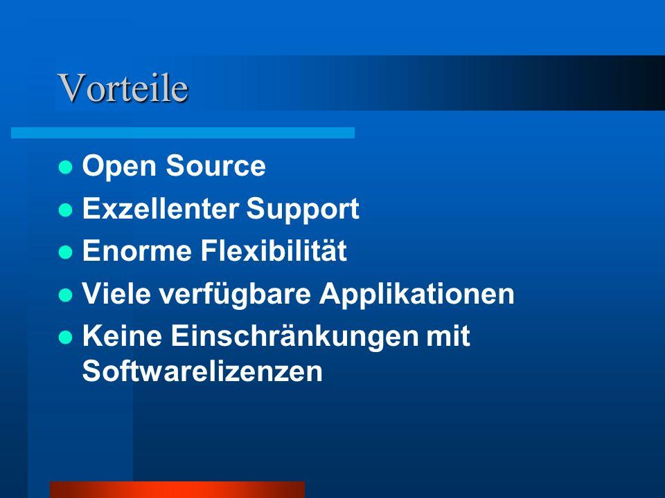 Vorteile Open Source Exzellenter Support Enorme Flexibilität Viele verfügbare Applikationen Keine Einschränkungen mit Softwarelizenzen