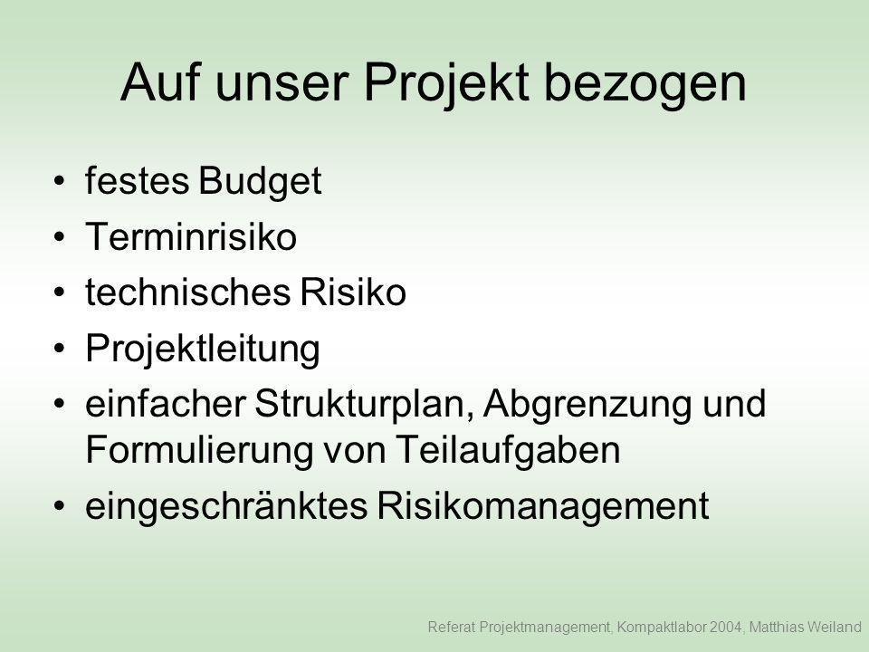 Auf unser Projekt bezogen festes Budget Terminrisiko technisches Risiko Projektleitung einfacher Strukturplan, Abgrenzung und Formulierung von Teilaufgaben eingeschränktes Risikomanagement Referat Projektmanagement, Kompaktlabor 2004, Matthias Weiland