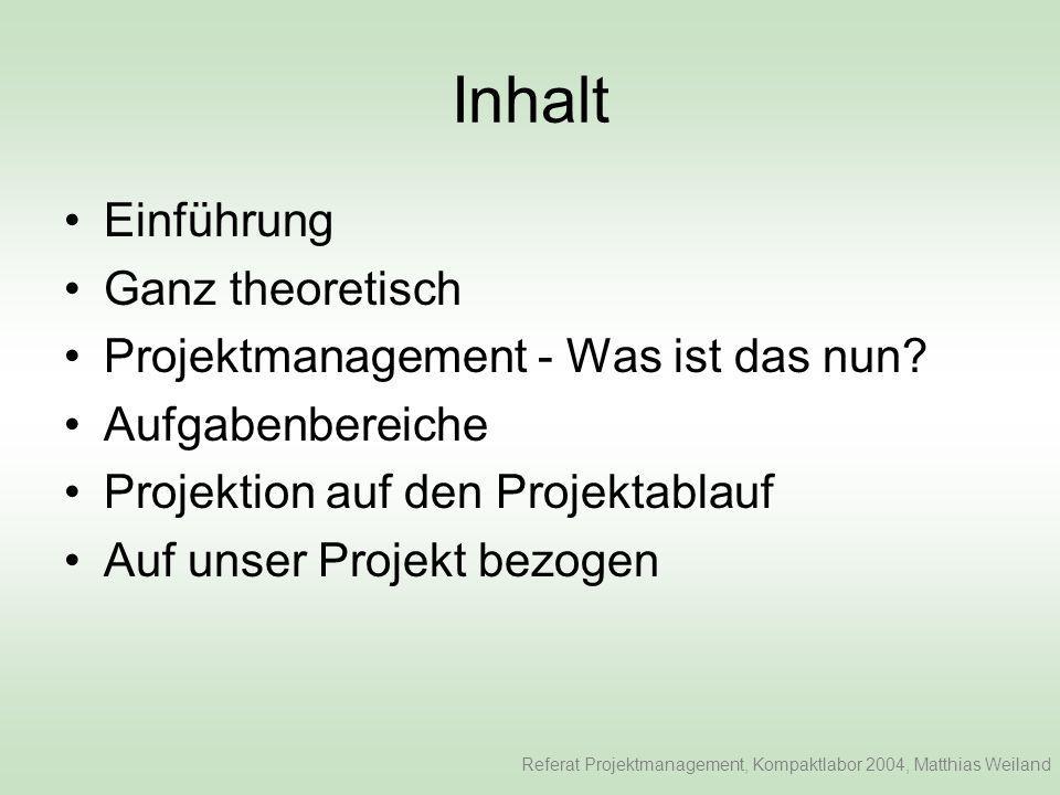 Inhalt Einführung Ganz theoretisch Projektmanagement - Was ist das nun.