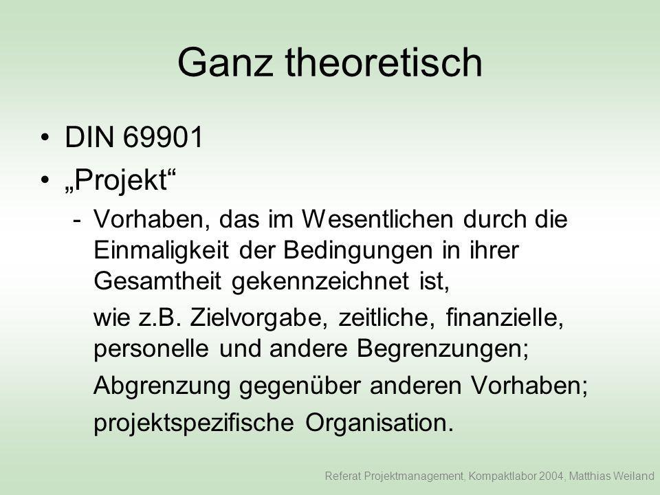 Ganz theoretisch Projektmanagement -Gesamtheit aller Führungsaufgaben, - organisation, -techniken, und –mitteln für die Abwicklung eines Projektes.