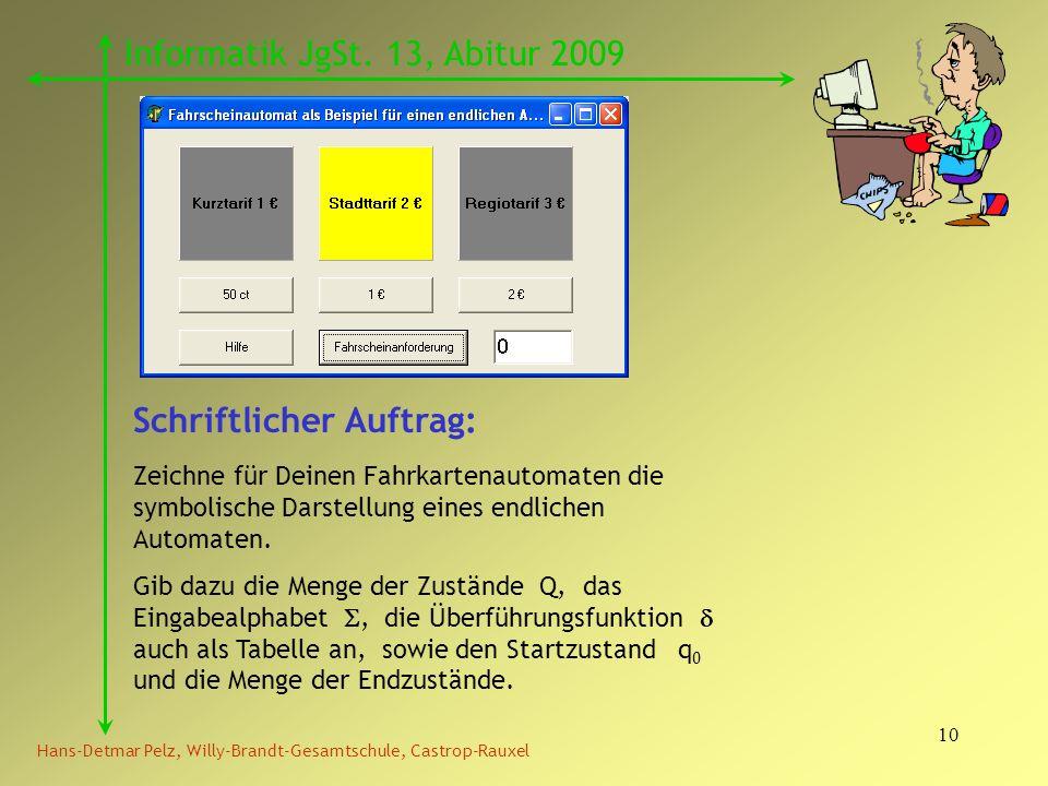 10 Hans-Detmar Pelz, Willy-Brandt-Gesamtschule, Castrop-Rauxel Informatik JgSt. 13, Abitur 2009 Schriftlicher Auftrag: Zeichne für Deinen Fahrkartenau