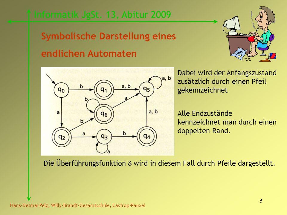5 Hans-Detmar Pelz, Willy-Brandt-Gesamtschule, Castrop-Rauxel Informatik JgSt. 13, Abitur 2009 Symbolische Darstellung eines endlichen Automaten Dabei