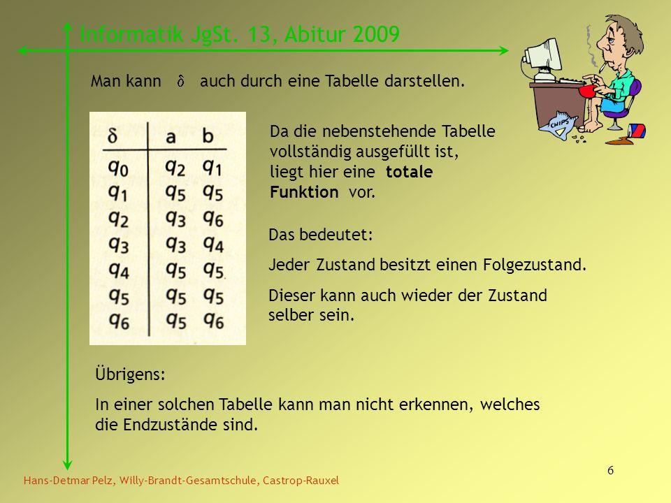 6 Hans-Detmar Pelz, Willy-Brandt-Gesamtschule, Castrop-Rauxel Informatik JgSt. 13, Abitur 2009 Man kann auch durch eine Tabelle darstellen. Da die neb