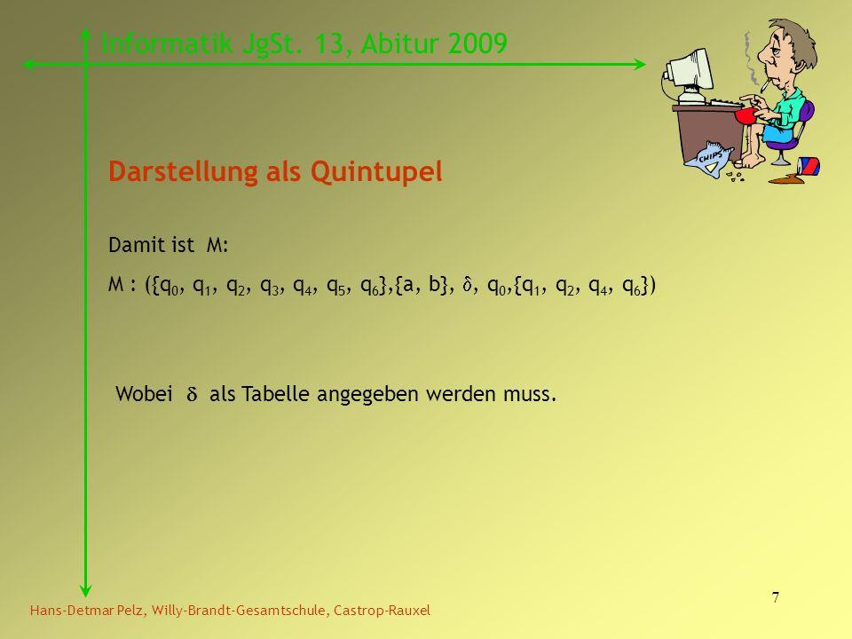 7 Hans-Detmar Pelz, Willy-Brandt-Gesamtschule, Castrop-Rauxel Informatik JgSt. 13, Abitur 2009 Darstellung als Quintupel Damit ist M: M : ({q 0, q 1,