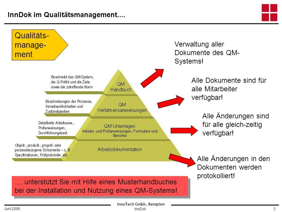 InnoTech Gmbh, Kempten Juni 2006 InnDok3 InnDok im Qualitätsmanagement....