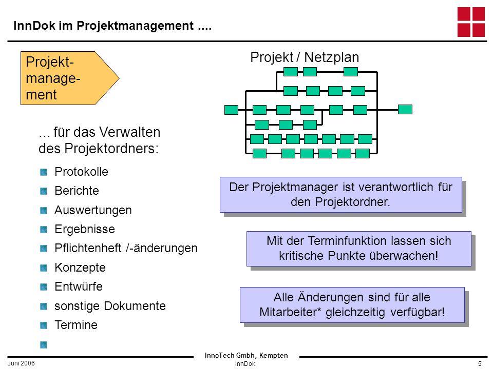 InnoTech Gmbh, Kempten Juni 2006 InnDok5 InnDok im Projektmanagement....
