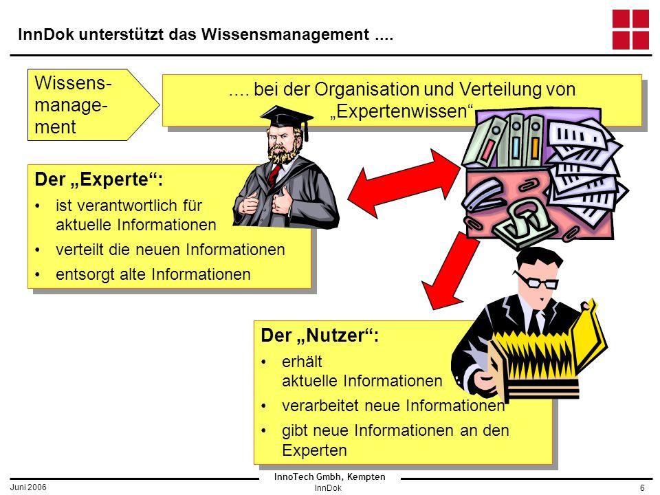 InnoTech Gmbh, Kempten Juni 2006 InnDok6 InnDok unterstützt das Wissensmanagement....